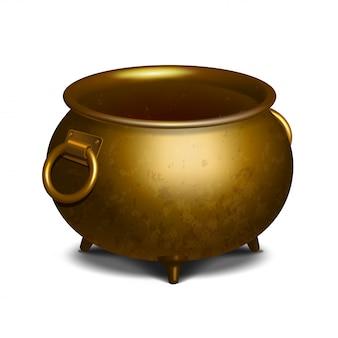 Vintage empty golden cauldron