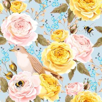 빈티지 영국 장미와 새 원활한 배경