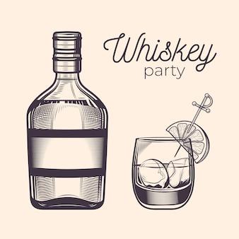 Винтажная гравировка бутылка и стакан виски