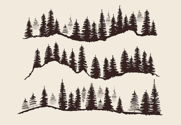 빈티지 조각 숲. 낙서 스케치 전나무 나무 벡터 세트