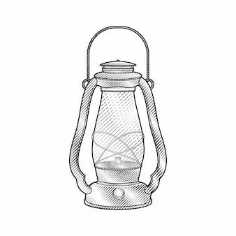 Vintage engraving hand drawn style lantern illustration