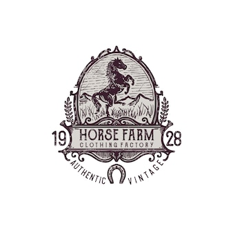 Vintage engraving horse farm illustration