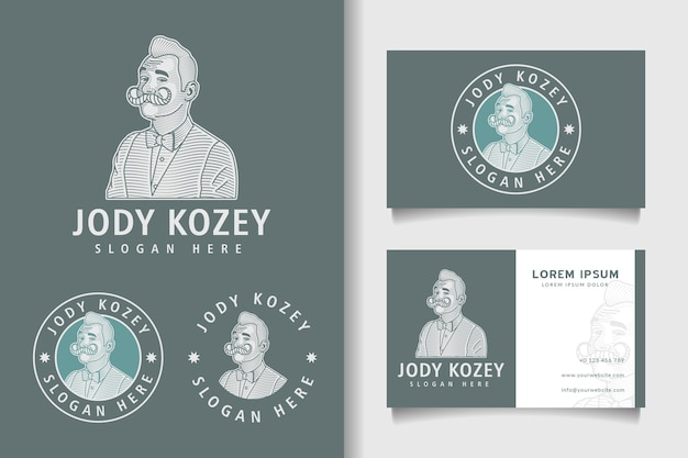 Vintage engraving logo and business card template