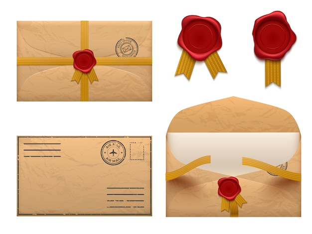 Vintage envelope. retro envelopes letter with wax seal stamp, old mail delivery set