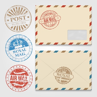 Vintage envelopes template with grunge postal stamps
