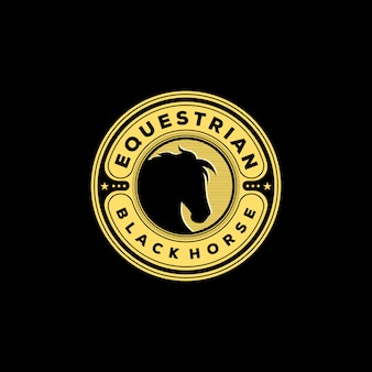 Vintage equestrian black horse logo