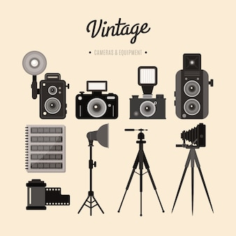 Vintage equipment of cameras and accessories