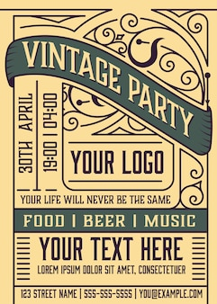 Vintage event poster layout. layered