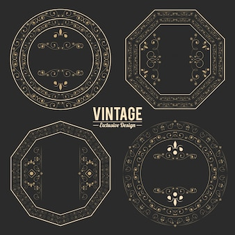Vintage exclusive set of luxury golden badges and stickers