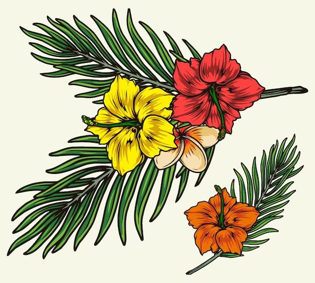 Винтажные экзотические цветочные иллюстрации изолированные