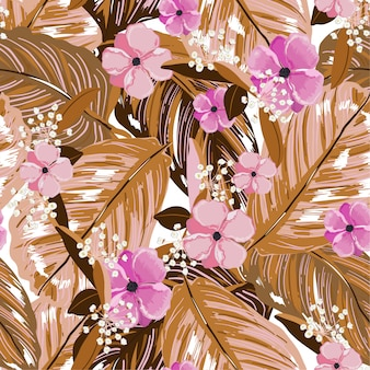 Vintage exotic layer of summer leaves and blooming flowers seamless pattern in vector design for fashion,web,wallpaper,fabric and all prints