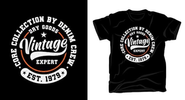 Винтажный эксперт типографики дизайн футболки