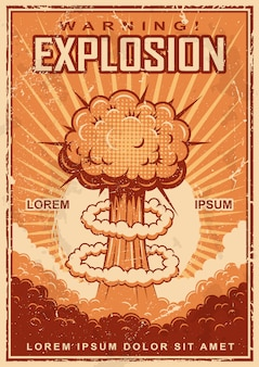 Vintage explosion poster on a grunge background.