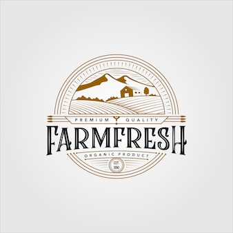 Vintage farm fresh organic product logo illustration design