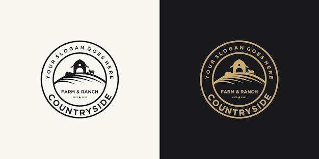 Vintage farm and ranch logo inspiration