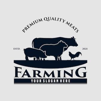 Винтажный дизайн логотипа фермерского хозяйства premium векторы