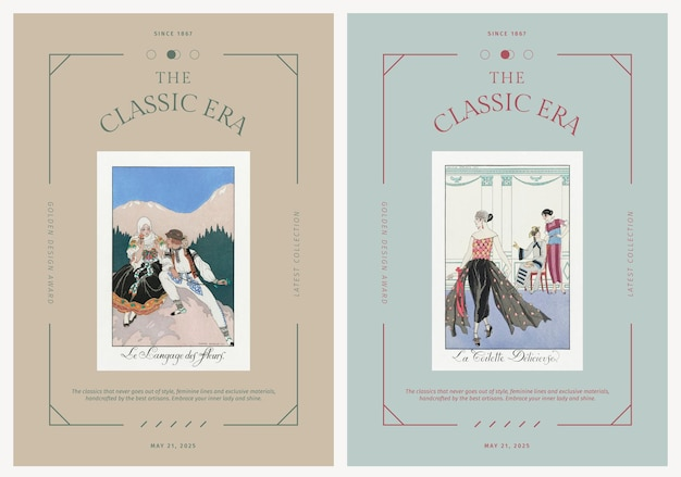 Vintage fashion editable vector poster templates, remix from artworks by george barbier
