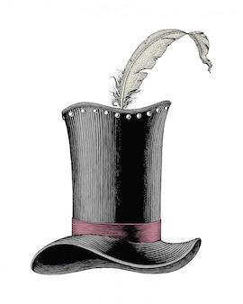 Vintage fashion hat hand drawn engraving illustration