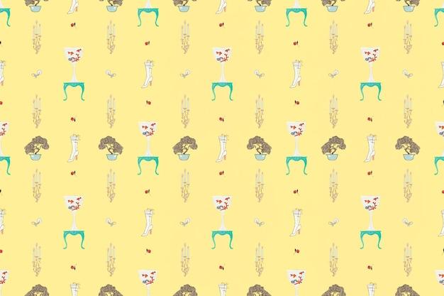 ヴィンテージファッションパターンベクトルフェミニンな背景、ジョージバルビエによるアートワークからのリミックス