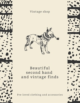 Vintage fashion quote template for flyer with dog illustration, remixed from artworks by moriz jung