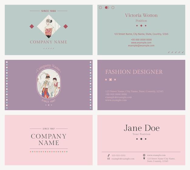 ヴィンテージファッションテンプレートベクトル名刺、ジョージバルビエによるアートワークからリミックス