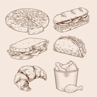 Vintage fast food hand drawing set