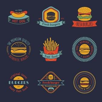 Vintage fast food logo set. retro collection.