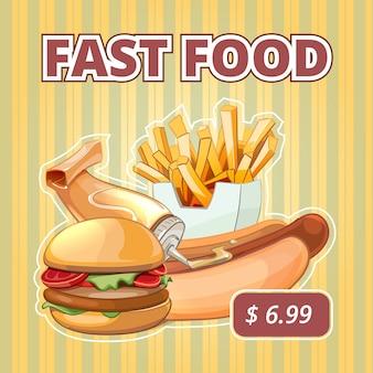 ヴィンテージファーストフードのベクトルメニュー。スナックバーガー、サンドイッチ、飲み物、おいしいバナーを提供