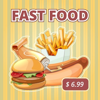 Vintage fast food vector menu. snack burger, offer sandwich, drink and tasty banner