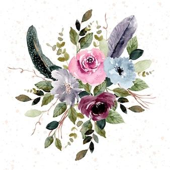 빈티지 깃털과 꽃 정원 수채화 배열