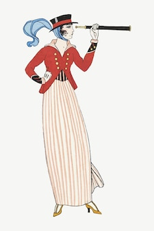 Vintage feminine fashion vector, remix from artworks by george barbier