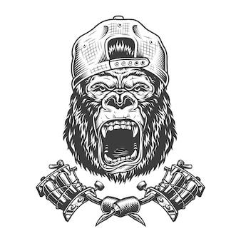 Vintage ferocious gorilla head in cap