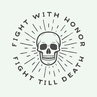 Vintage fighting skull label, emblem and logo.