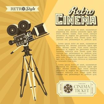 빈티지 필름 카메라입니다. 텍스트에 대 한 장소를 가진 빈티지 스타일의 포스터입니다. 레트로 영화.