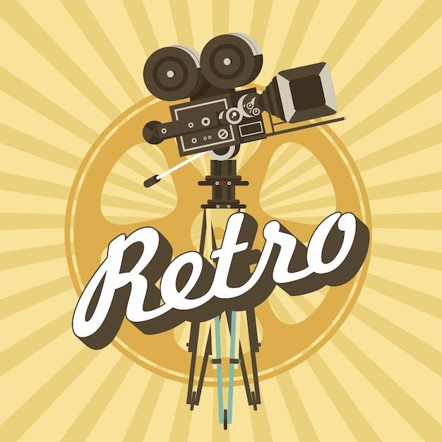 빈티지 필름 카메라입니다. 빈티지 스타일의 포스터입니다.