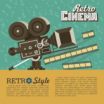 Vintage film camera. poster in vintage style with place for text. retro cinema.