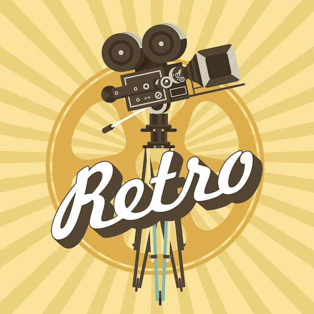 Vintage film camera. poster in vintage style.