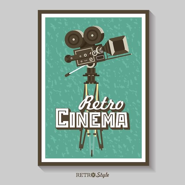 Vintage film camera. vector poster retro movie theater.