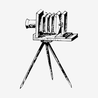 Vintage film slide camera illustration