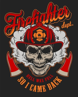 Vintage firefighter colorful label template with fireman skull in helmet and crossed axes illustration