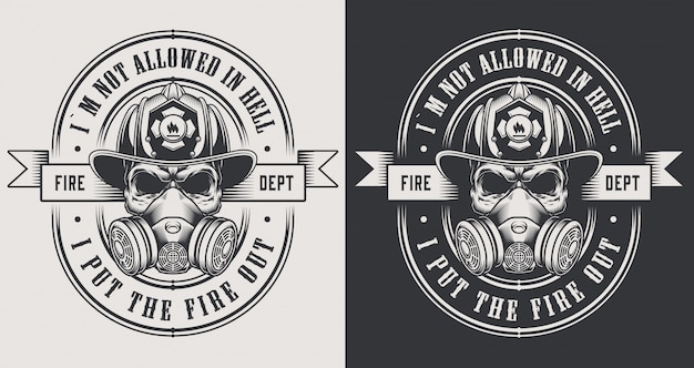Vintage firefighter emblems with crossed axes and bearded skull wearing fireman helmet illustration