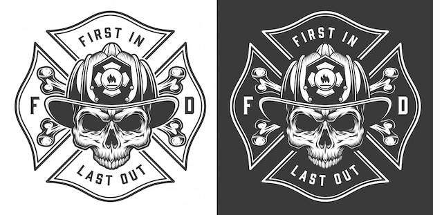 Vintage firefighter labels concept with letterings crossed axes fireman skull in helmet illustration