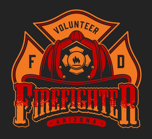 Vintage firefighting colorful emblem with inscriptions crossed axes and firefighter helmet on black background illustration
