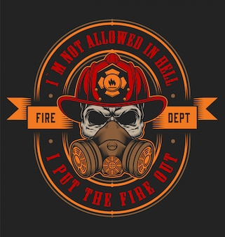 Vintage firefighting emblem concept with skull in fireman helmet illustration