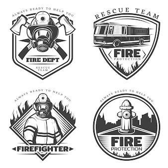 Vintage firefighting logos set
