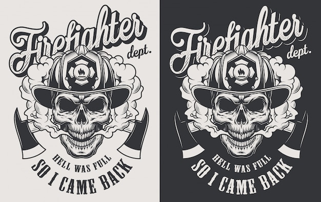 Vintage firefighting logotype concept with crossed axes and skull wearing fireman helmet in monochrome style illustration