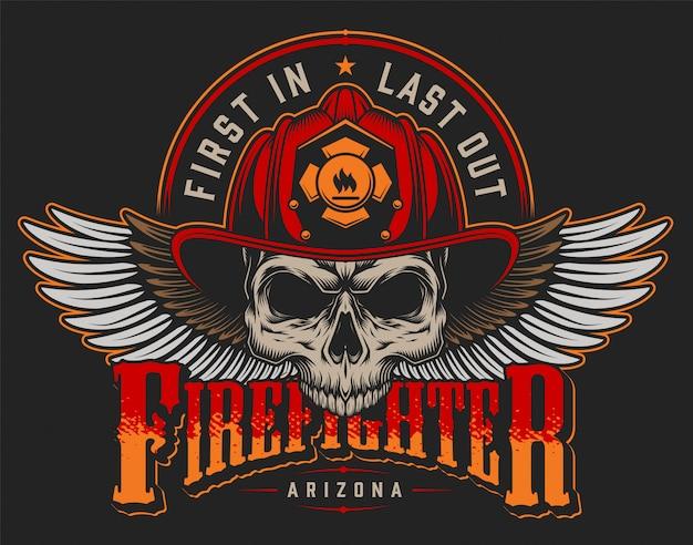 Stampa variopinta del vigile del fuoco d'annata con le asce e il cranio delle iscrizioni nel casco del pompiere sull'illustrazione nera del fondo