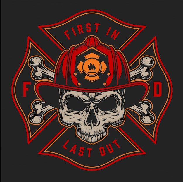 Vintage fireman colorful print with inscriptions axes and skull in firefighter helmet on black background illustration