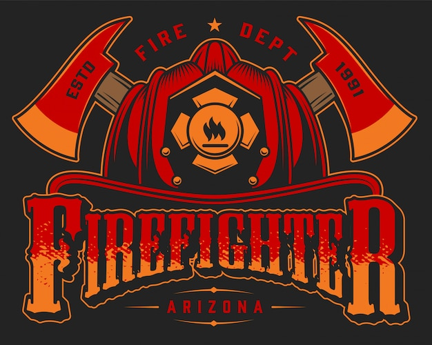 Vintage fireman logo colorful template with crossed axes and skull in firefighter helmet on black illustration