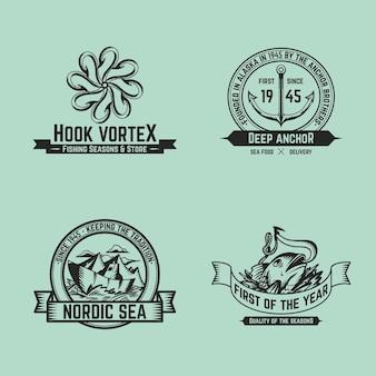 Collezione vintage di badge da pesca